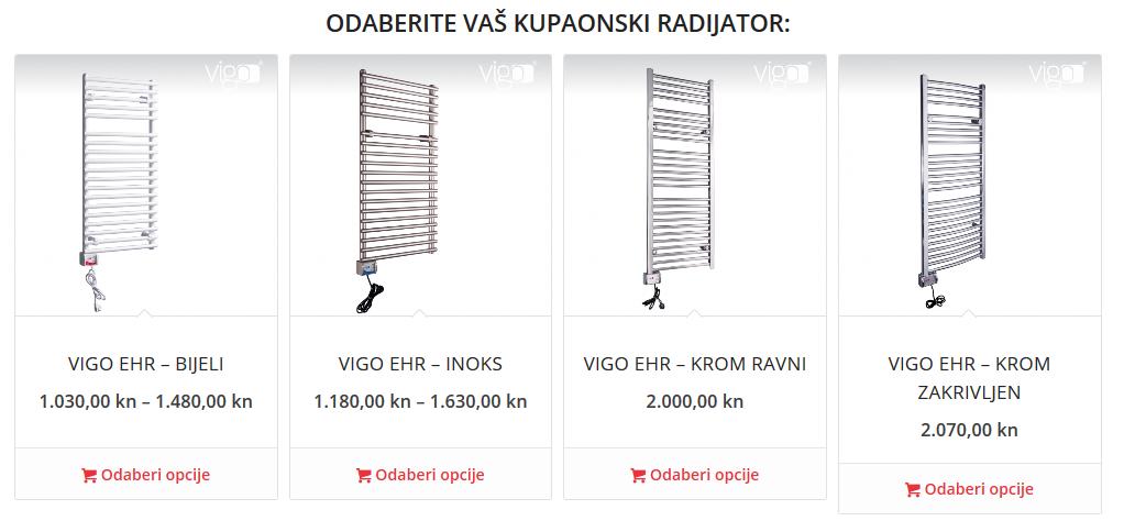 Kupaonski radiatori Vigo